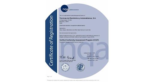 Renovamos el certificado VCAP para la fabricación de Células de Carga NTEP
